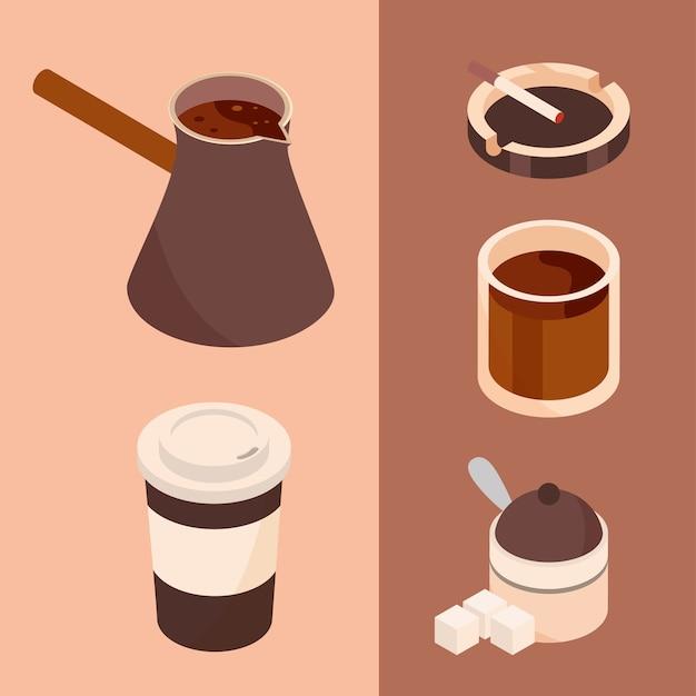 Tazze della caffettiera e illustrazione isometrica di progettazione dell'icona della birra dello zucchero