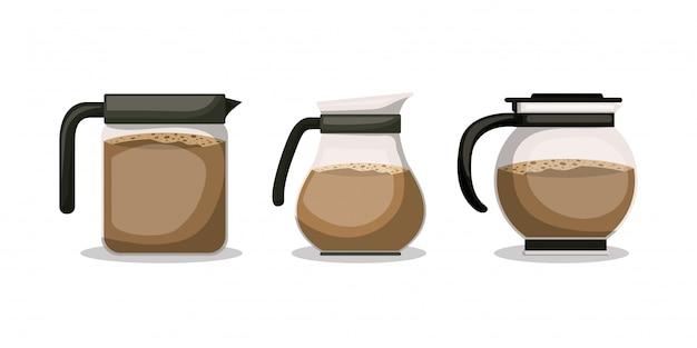 Le caffettiere progettano, bevono la prima colazione del ristorante del forno della bevanda e l'illustrazione di vettore di tema del negozio