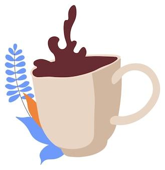 Caffè versato in tazza di ceramica bar o ristorante
