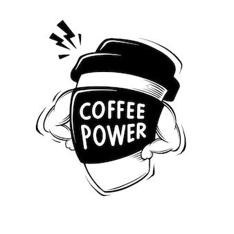 Illustrazione della mascotte di citazione di potenza del caffè