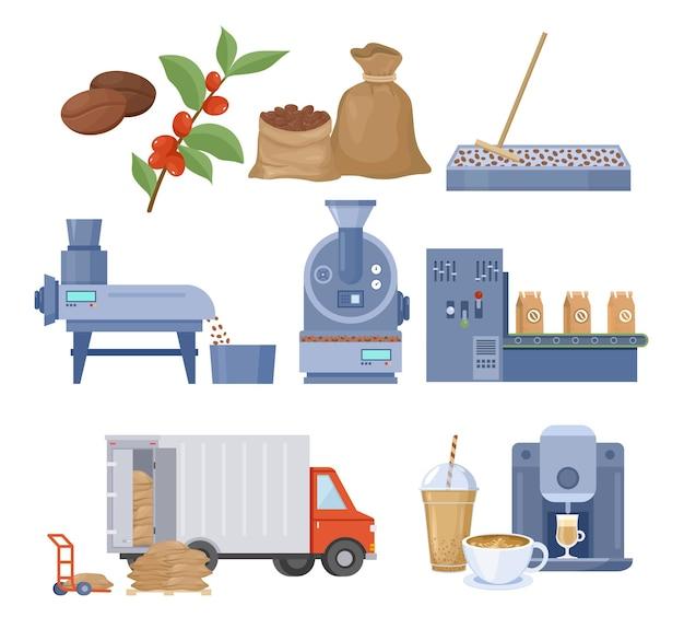 Insieme dell'illustrazione di produzione del caffè