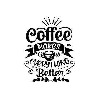 Caffè citazioni svg disegno vettoriale