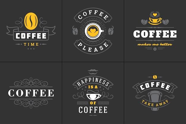 Set di illustrazioni di frasi ispiratrici in stile tipografico vintage di citazioni di caffè