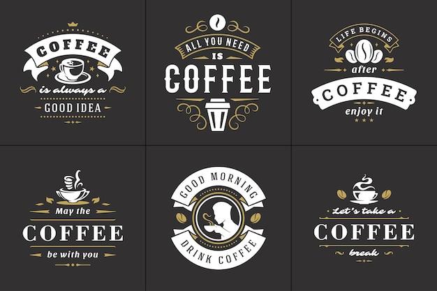 Set di illustrazioni di frasi ispiratrici in stile tipografico vintage di citazioni di caffè.