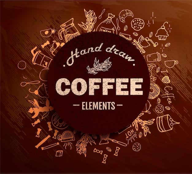 Caffè rotondo in stile doodle disegnato a mano del profilo dell'annata con diversi oggetti sul tema del caffè. .