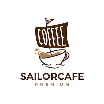 Illustrazione dell'icona di caffè marinaio cafe logo