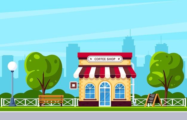 Progettazione dell'edificio della caffetteria. caffè sulla strada della città. sagoma di grande città sullo sfondo. illustrazione di stile piatto.