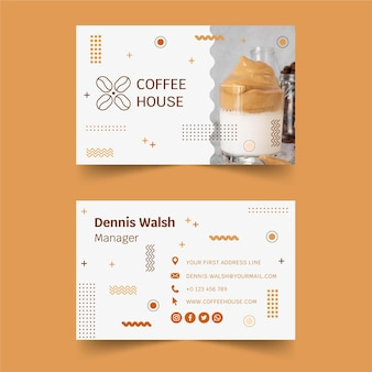 Modello di biglietto da visita della caffetteria