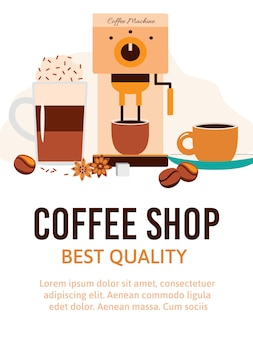Illustrazione di vettore del fumetto del negozio o del caffè della caffetteria.