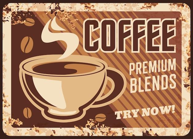 Piastra di metallo arrugginito cappuccino caffetteria