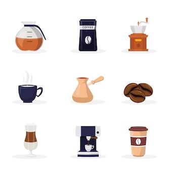 Insieme di illustrazioni piane del fumetto della caffetteria