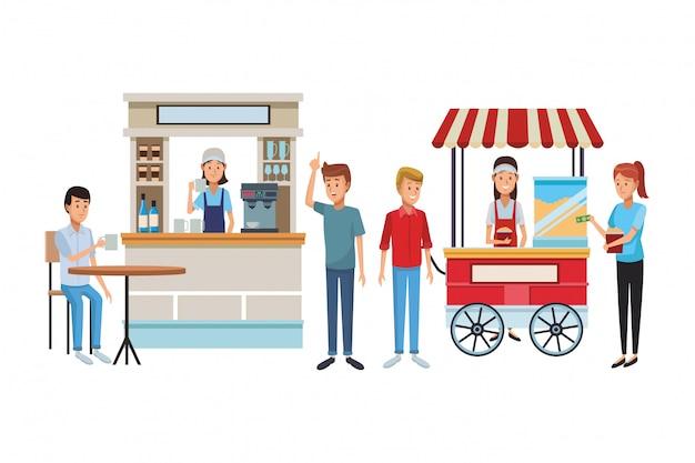 Cartone animato caffetteria