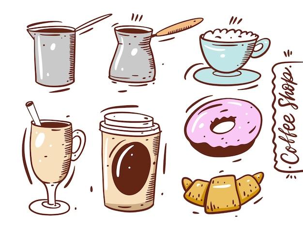 Insieme di elementi della caffetteria. tazza da caffè, croissant, ciambella, caffè da asporto, bicchiere e caffettiera. disegnare a mano in stile cartone animato. isolato su sfondo bianco.