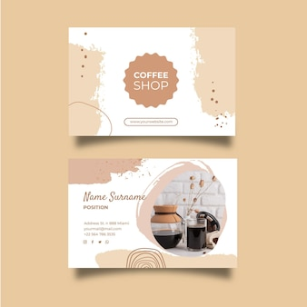 Biglietto da visita orizzontale della caffetteria
