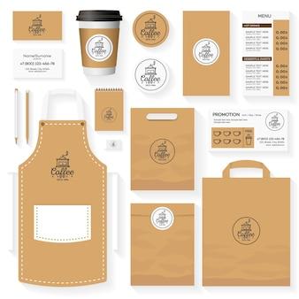 Progettazione del modello di identità della caffetteria con logo della caffetteria e macchina per il caffè.