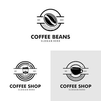 Vettore dell'annata degli elementi di progettazione dell'illustrazione della caffetteria