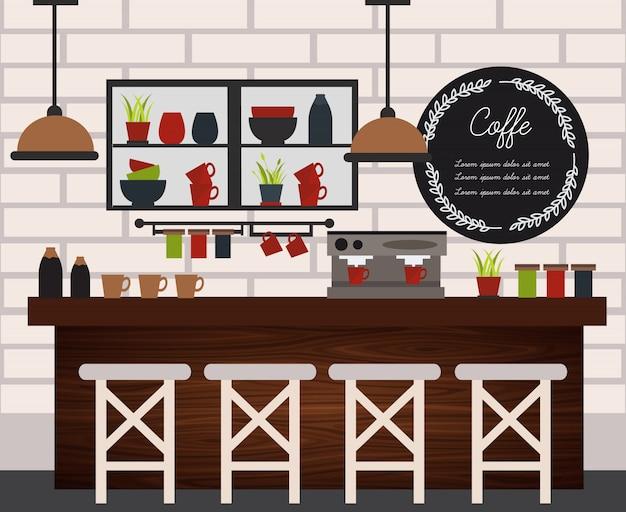 Illustrazione della caffetteria piana e colorata con gli elementi di progettazione della mobilia nello stile moderno