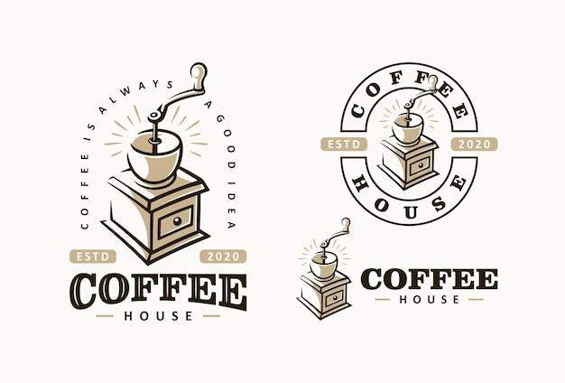 Etichetta della caffetteria con modello di macinacaffè