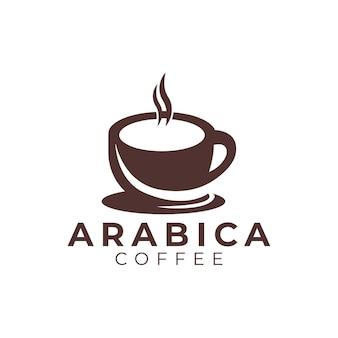 Modello di progettazione di logo di caffetteria