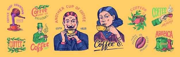 Logo ed emblema della caffetteria chicchi di cacao grani tazza di bevanda uomo e ragazza tiene una tazza vintage retrò