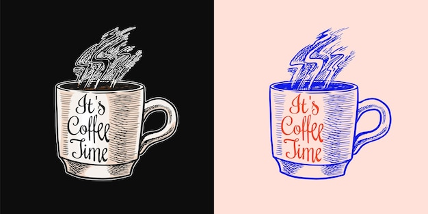 Logo della caffetteria ed emblema tazza di bevanda latte o cappuccino o espresso vintage retrò distintivo mano