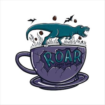 Illustrazione di logo della caffetteria con dinosauro in piedi sul bicchiere di caffè