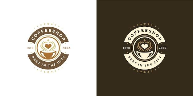 Insieme dell'illustrazione del modello di logo della caffetteria