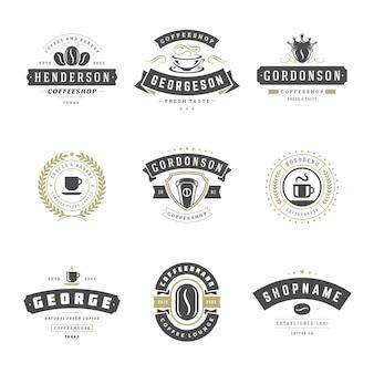 Modelli di progettazione di loghi di caffetteria impostati per il design del distintivo di caffè e la decorazione di menu