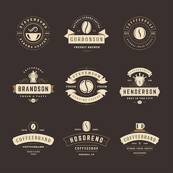 I modelli di progettazione dei loghi della caffetteria hanno impostato l'illustrazione per il design del distintivo del caffè e la decorazione del menu