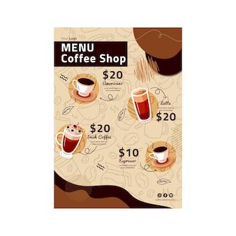 Modello di menu della caffetteria