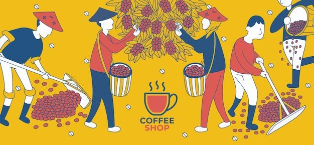 Modello di promozione della caffetteria in stile di design moderno