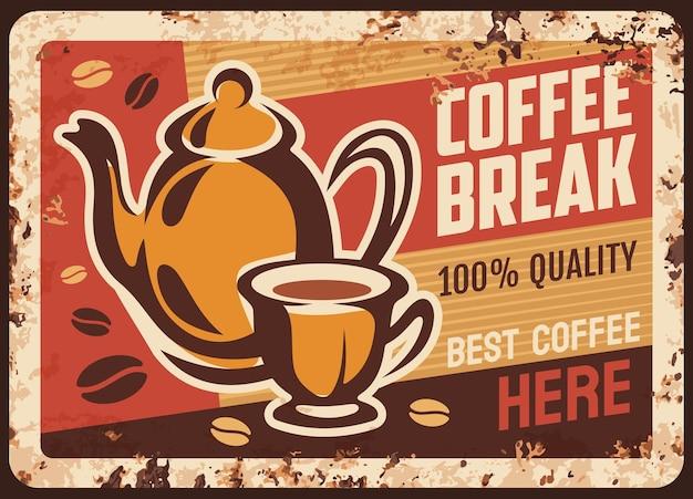 Retro illustrazione della bandiera della caffetteria Vettore Premium