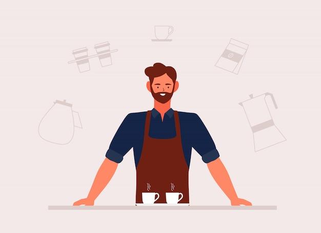 Illustrazione di piccola impresa della caffetteria ed uomo di barista in grembiule con la macchina disegnata a mano e gli accessori in un caffè