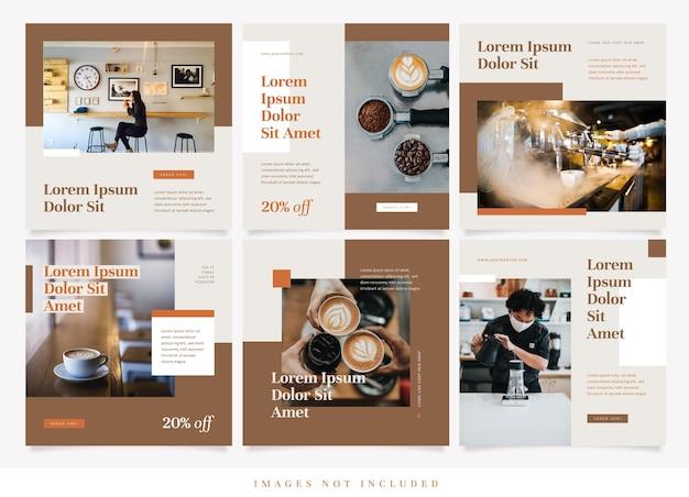 Modello di social media per caffetteria