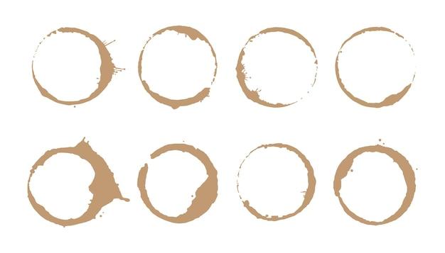 Set di anelli per macchie di caffè illustrazione vettoriale timbro per macchie di bevande con forma rotonda ed elemento splash