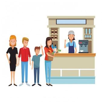 Cartoni animati del negozio di caffè