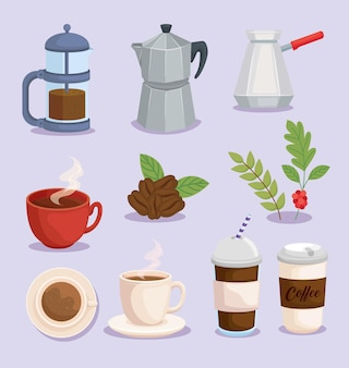 Insieme di simboli del caffè