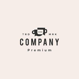 Modello di logo vintage hipster sociale di chiacchierata di caffè