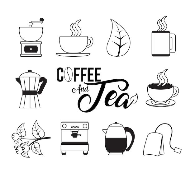 Collezione di caffè e tè
