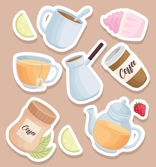 Icone di bevande di caffè e tè