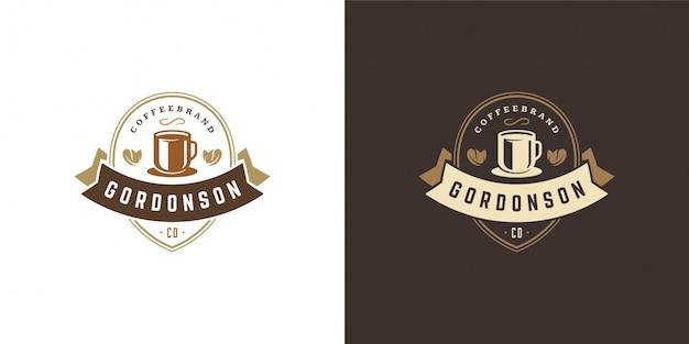 Modello di logo del negozio di caffè o tè con sagoma di fagiolo buono per il design del distintivo del caffè e la decorazione del menu