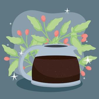 Teiera e pianta del caffè