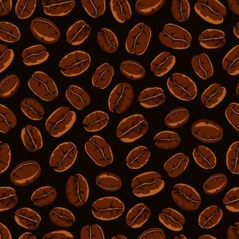 Tema del caffè. modello senza cuciture di chicchi di caffè