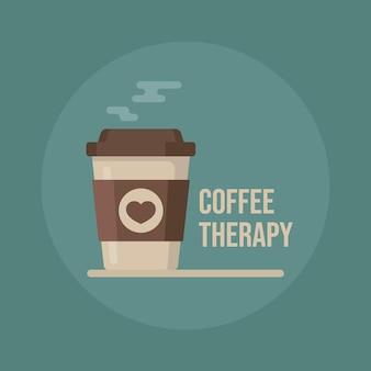 Terapia del caffè. illustrazione della tazza di caffè.