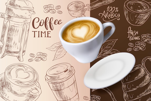 Sfondo tempo caffè con tazza e piatto Vettore Premium