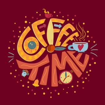 L'ora del caffè nella frase pubblicitaria della caffetteria vettore