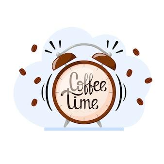 Tempo del caffè. l'iscrizione sulla sveglia. design piatto.