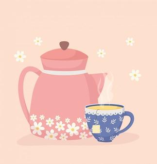 Decorazione di fiori freschi con tempo di caffè e tè, teiera e tazza