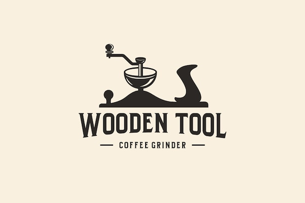 Design del logo dello strumento da caffè con strumenti in legno retrò