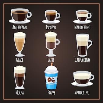 Tipi di caffè collezione piatta americano e latte